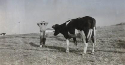 Trevor Smith on Eulowarra farm, Marshall Mount. Circa 1958