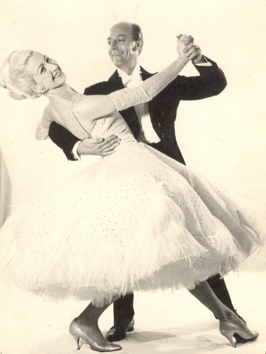 1964, Publicity shot of Ray and Margaret Reeve Ballroom Dancing. Margaret's dress is purported to be the first Ostrich trimmed Ballroom dress in Australia at the time.