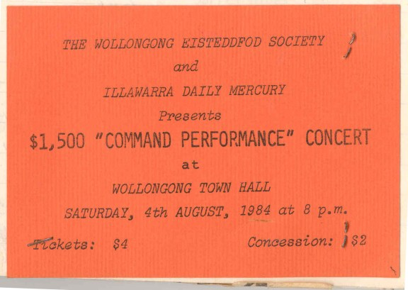 """City of Wollongong Eisteddfod $1500 """"COMMAND"""" Concert ticket, August 4 1984"""