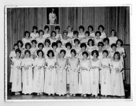 Group of Debutantes on their way to debutante ball at WTH. Taken at St Mary's School Hall. Date 1967, Photographer Reginald Warlow