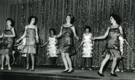 'The Twist' scene in Council Concert Wollongong Town Hall. 1962 Girls dancing the twist on stage July 8 1962.