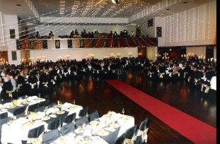 Guests seated table at Wollongong Council 50th Anniversary Gala Ball celebrating establishment of independent council for Wollongong (1997).