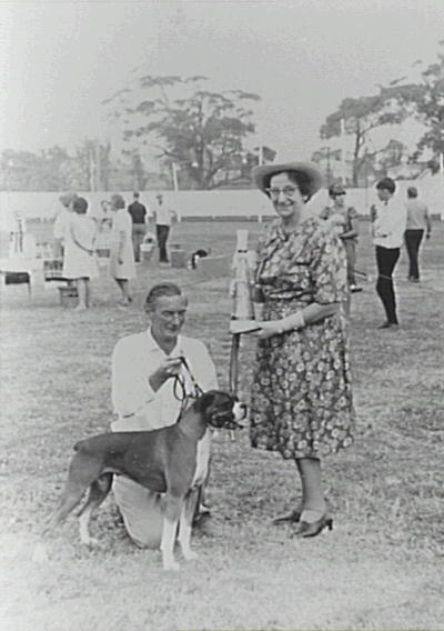 Alderman Rube Hargrave presenting an award at the Bulli District Kennel Club show at Bulli Showground on 25 April 1965 - P16383