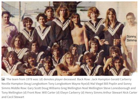 Crookhaven Magpies Rugby League Club, 1978 - Sonny Simms top right