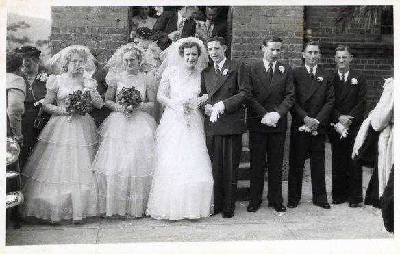 Beryl and Colin's wedding party - St. Augustine's Church, Bulli - 1954