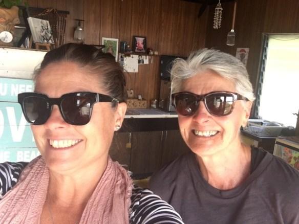Helen and her daughter Rachel inside the shack
