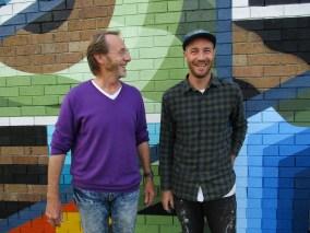 Poet Mark Tredinnick and muralist Brad Eastman - Coledale Communtiy Centre Mural 2021