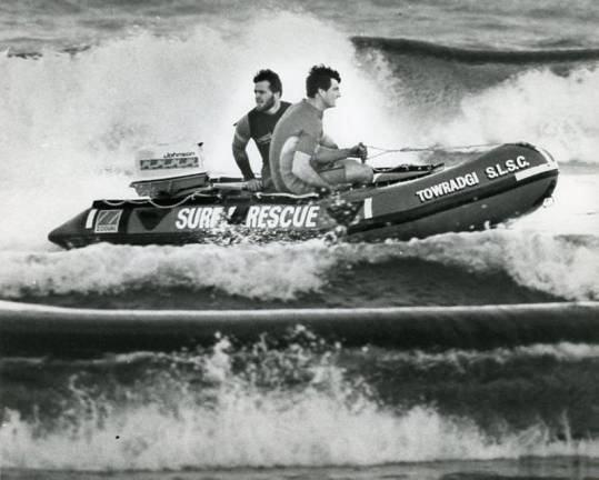 P27176 - Towradgi's rubber duckie (IRB) team of Bob Starkey (left) and Don Allan in action - 14 July 1987