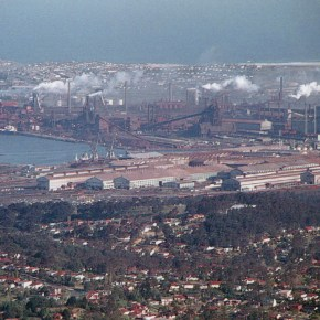 1974 - Port Kembla Steelworks and Harbour from Mount Keira Lookout - Eric Nicholson - P19912