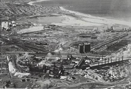 P06642 - Aerial view of the Port Kembla steelworks - 1960