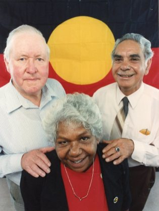 P26074 - Foundation members Fred Moore, Mary Davis and Bob Davis celebrate the 30th anniversary of the Aboriginal Advancement League - December 1992.
