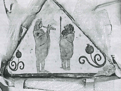 The fresco fragment from a tomb in Paestum, via chasingaphrodite.com