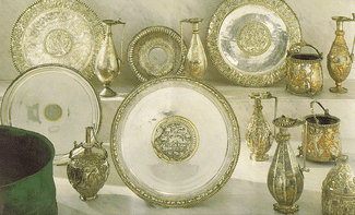 An image of the Sevso treasure from 1990 in anticipation of sale