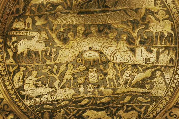 A detail from the hunting plate, which refers to locations in present-day Hungary
