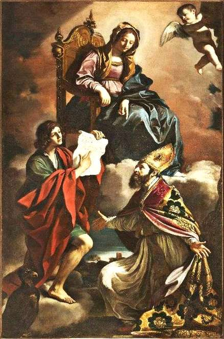 """Madonna with the saints John the Evangelist and Gregory the Wonderworker"", 1639, by the Italian artist Guercino"