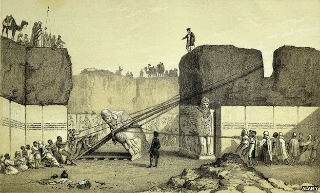An Assyrian lamassu being removed under the direction of Austen Henry Layard