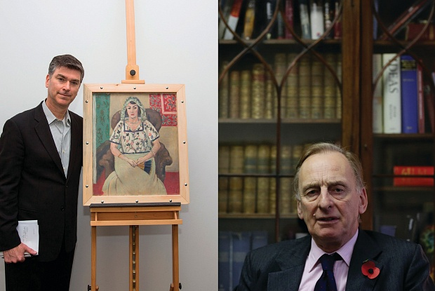 Via the Art Newspaper: Art Recovery Group founder Chris Marinello with Matisse's Seated Woman, which was returned to the Rosenberg family last year (left), and Art Loss Register founder and chairman Julian Radcliffe