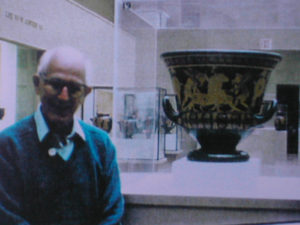 Here is Robert Hecht posing next to the Euphronios Krater, the picture was taken by Giacomo Medici