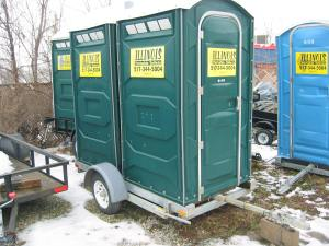 One of our popular double field trailers that hauls two standard units and a handwash station.
