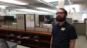 Ron Levellie says he likes to work at the Booth library because he enjoys the atmosphere and helping patrons. Levellie said the only thing that keeps him in Illinois is this job.