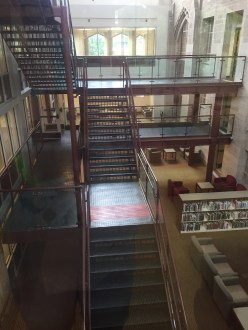 The multilevel library is very accommodating. It allows for easy accessibility and volumes on all levels.