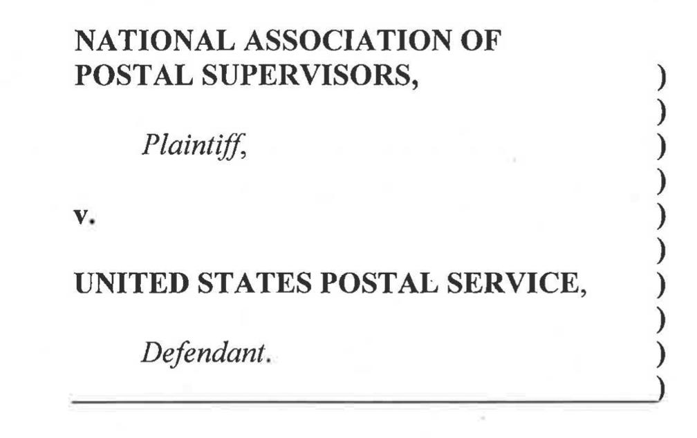"Graphic of a dockett stating ""National Association of Postal Supervisors vs United States Postal Service"""