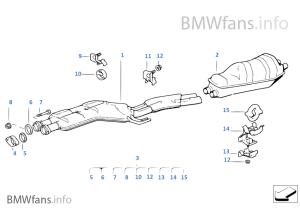 Abgasanlage hinten | BMW 7' E32 740i M60 Europa