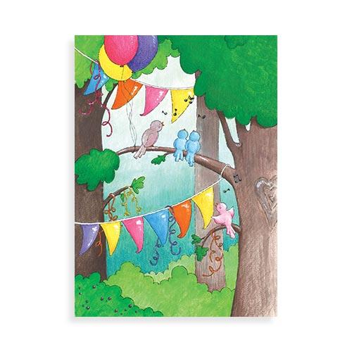"""Voorkant ansichtkaart """"Vogeltjes verjaardag"""""""