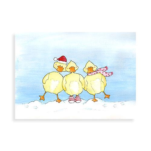 """Voorkant ansichtkaart """"Kerst eendjes in de sneeuw"""""""