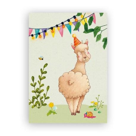 Afbeelding wenskaart alpaca
