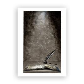 Afbeelding wenskaart boek met veer