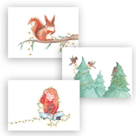 2019-9001 Set van 3 kaarten kerstlampjes