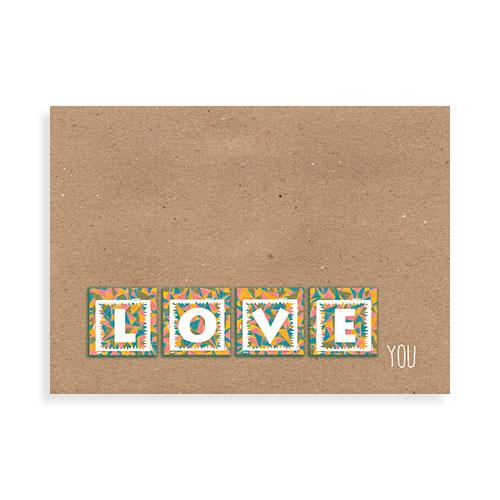 """Voorkant kaart """"Love you"""""""