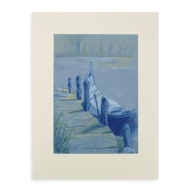 Pasteltekening (origineel): Gondel bij Lago di Lago