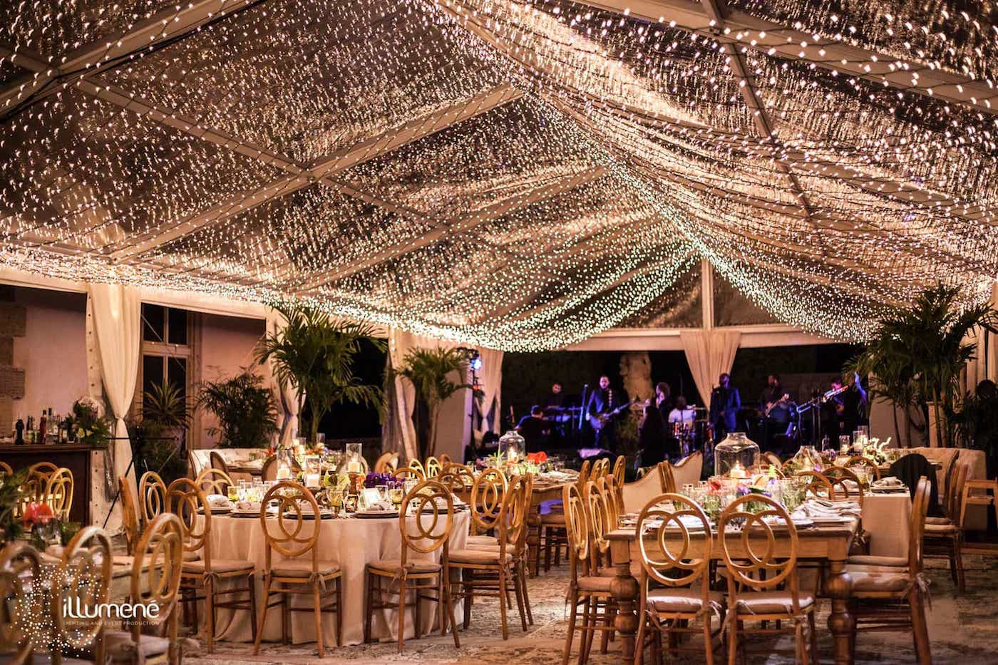 twinkle lights tent canopy at the
