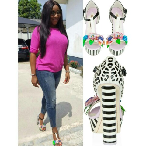 Actress Ini Edo Steps Out In N220k Floral Sandals