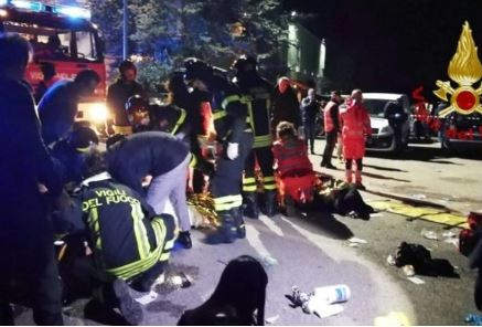 Six people die during stampede at a rap concert in an Italian nightclub
