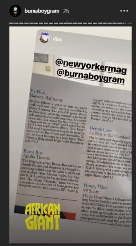 Burna Boy Gets Featured In NewYorker Magazine In The US