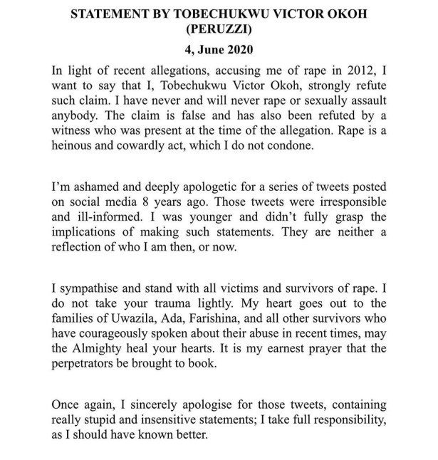 Peruzzi releases official statement responding to the rape allegation leveled against him; apologizes for his old tweets in which he declared himself a rapist