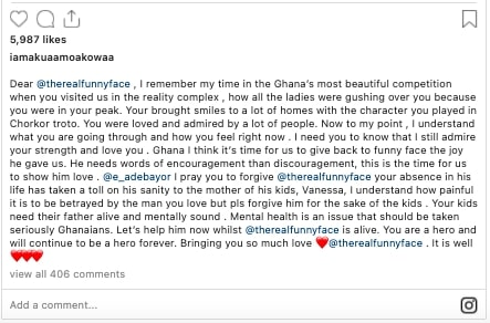 Forgive him, he needs your support now – Akua GMB pleads to Adebayor on Funny Face's behalf