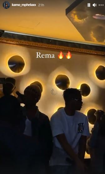 Kamo Mphela spotted in same club with Rema