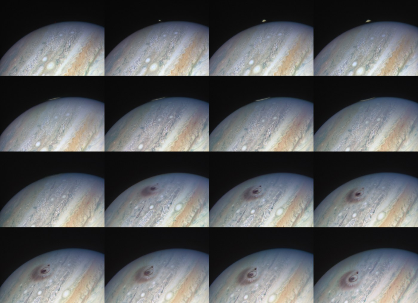 A grid of individual animation frames showing the results of a piece of the Shoemaker-Levy 9 comet impacting Jupiter, creating a plume, and leaving a dark scar across the cloud tops.