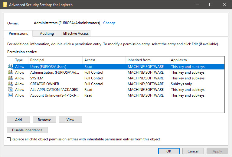 Logitech fails to save settings for mouse, keyboard mappings, etc