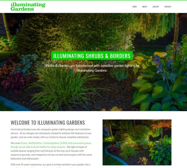 illuminating gardens website homepage - New Website