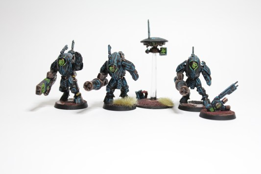 A Stealth Suit team painted in a harsh-edging style.