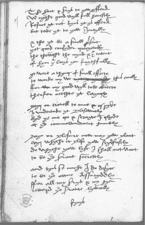 Page from the Devonshire Manuscript. Used with permission. Courtesy of Adam Matthew Digital (http://www.amdigital.co.uk/) and the Devonshire Manuscript Editorial Group (http://en.wikibooks.org/wiki/The_Devonshire_Manuscript/The_hart_%26_servys_to_yow_profferd)