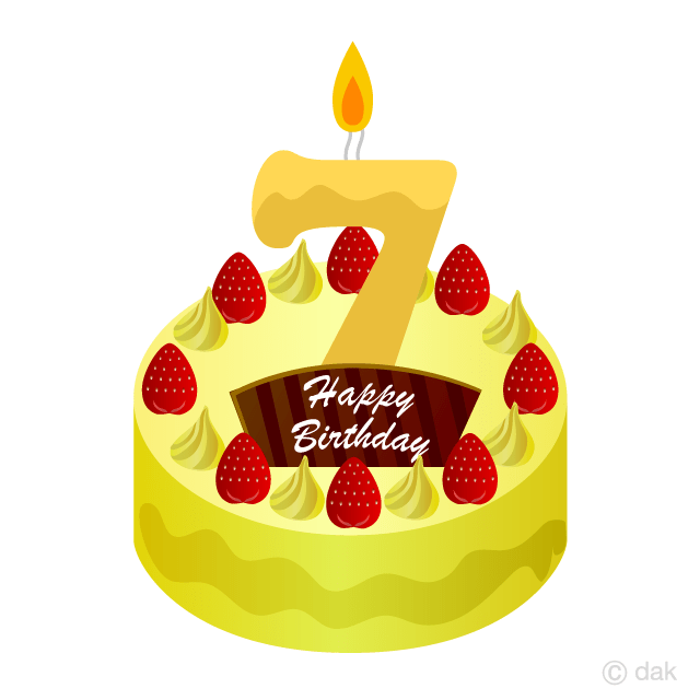 7 Years Old Candle Birthday Cake Clipart Free Png Image Illustoon