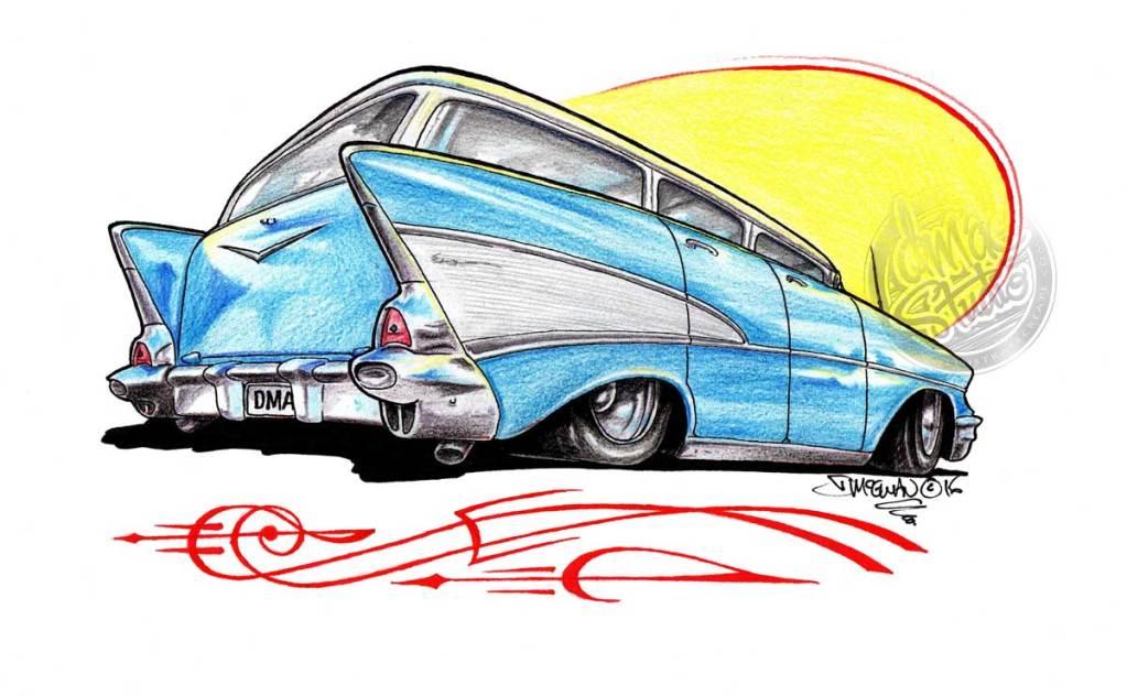 57 Chevy Wagon pencil drawing