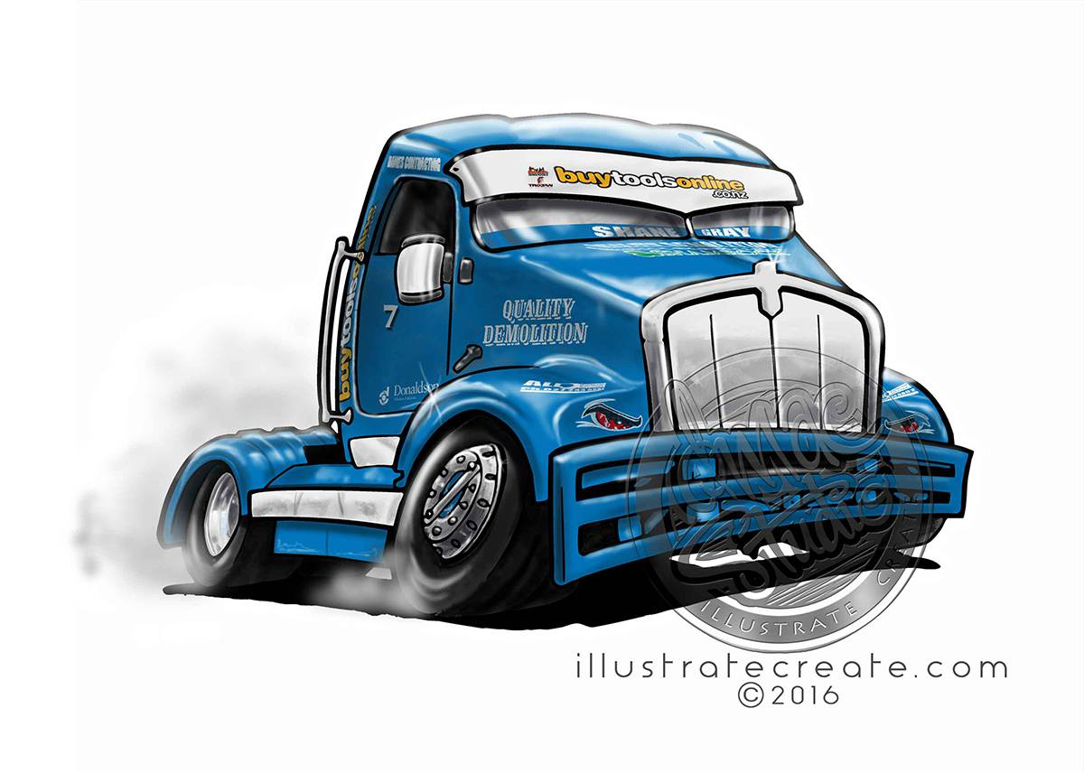 Race Truck cartoon