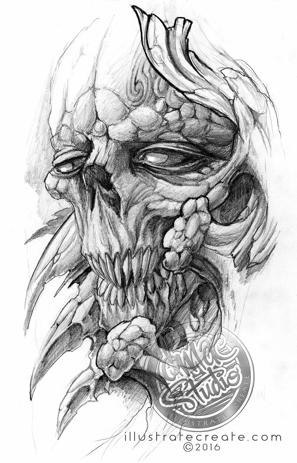 Bio skull drawing pencil